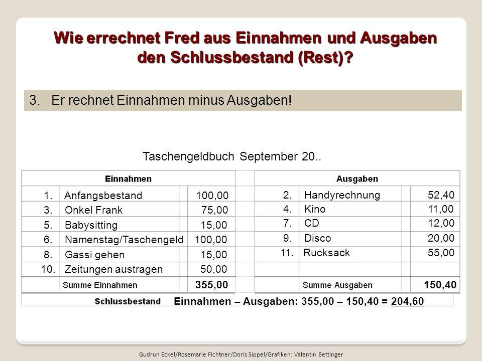 Wie errechnet Fred aus Einnahmen und Ausgaben den Schlussbestand (Rest)