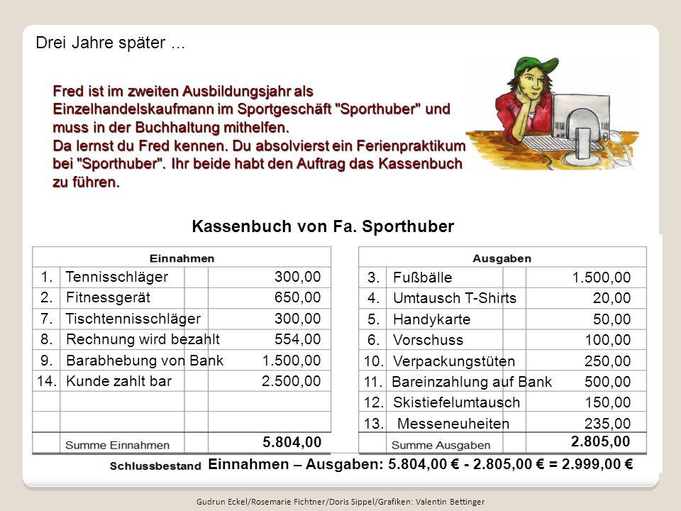 Kassenbuch von Fa. Sporthuber