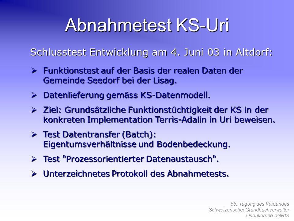 Abnahmetest KS-Uri Schlusstest Entwicklung am 4. Juni 03 in Altdorf: