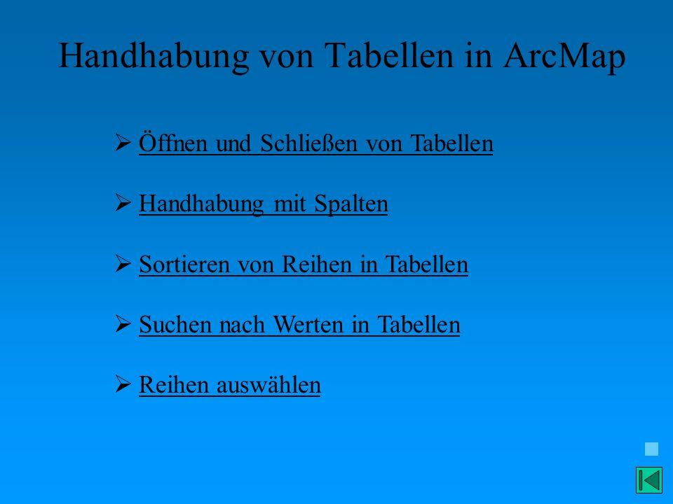 Handhabung von Tabellen in ArcMap