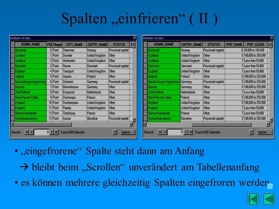 """Spalten """"einfrieren ( II )"""