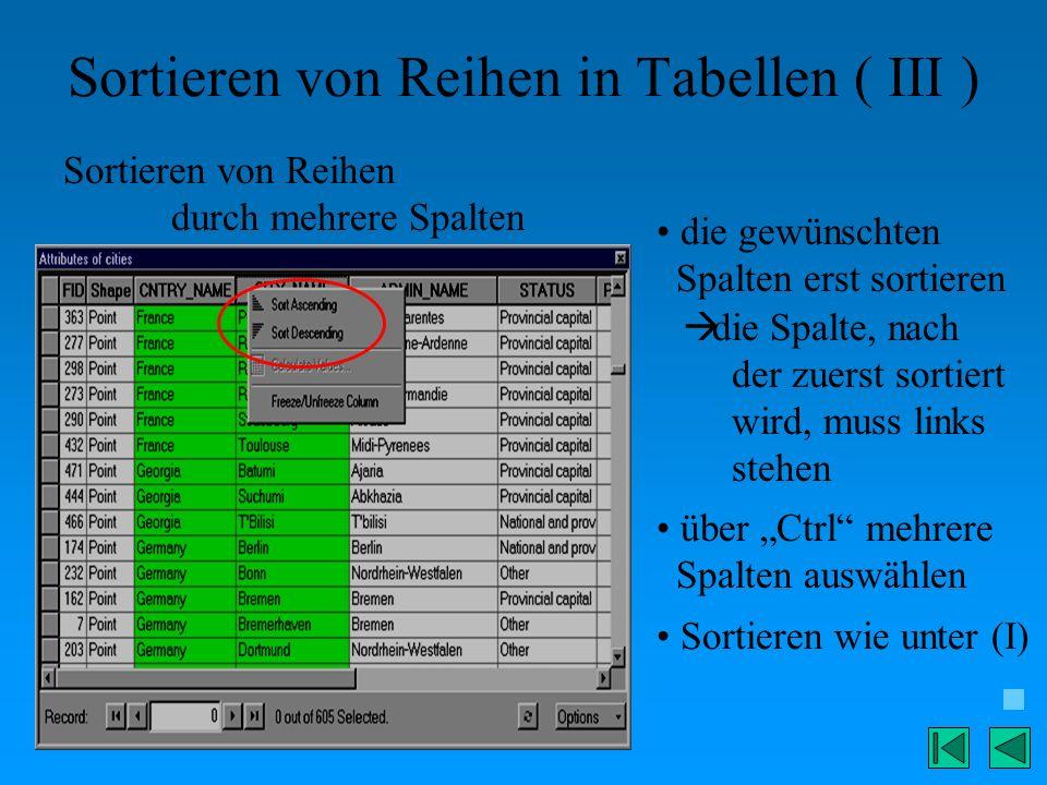 Sortieren von Reihen in Tabellen ( III )