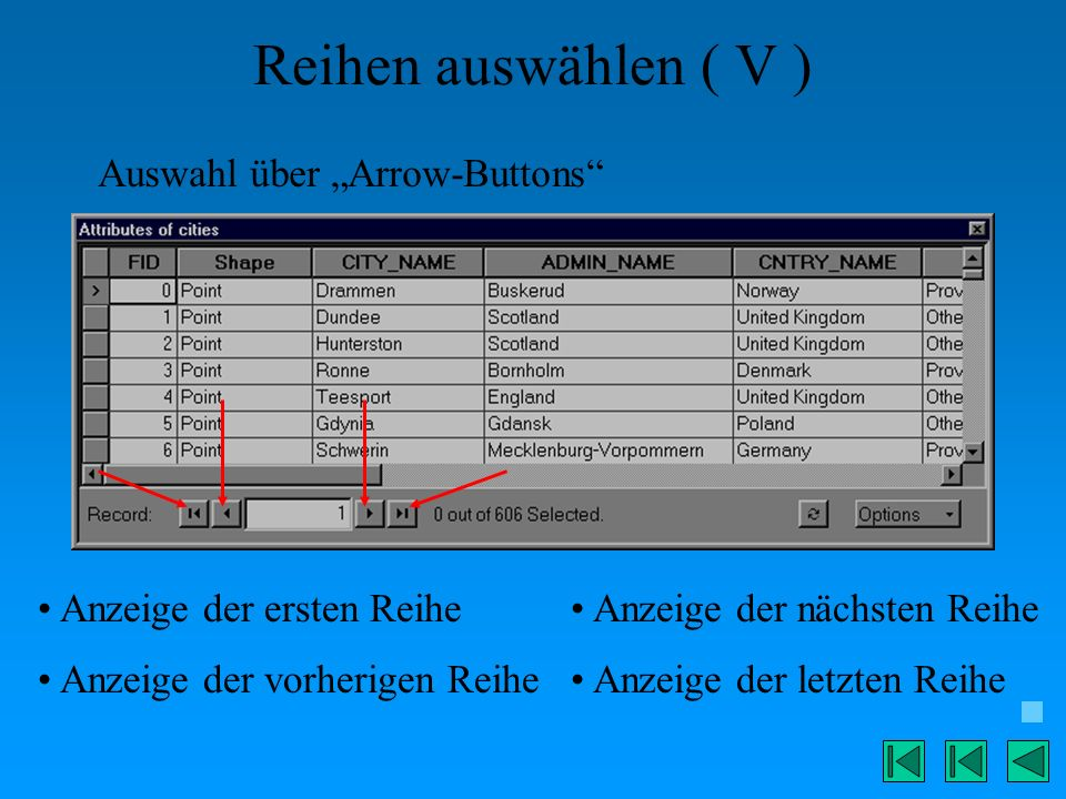 """Reihen auswählen ( V ) Auswahl über """"Arrow-Buttons"""