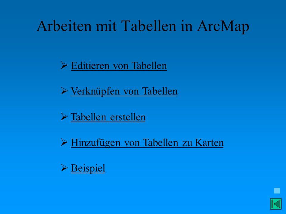 Arbeiten mit Tabellen in ArcMap
