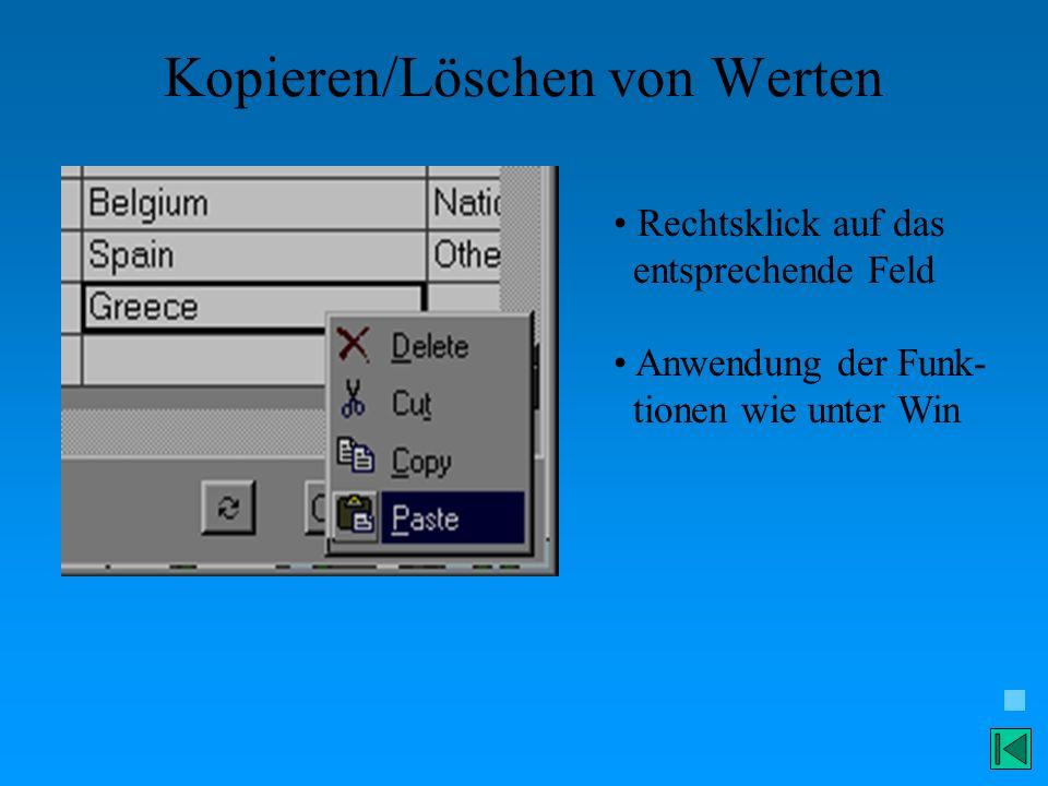 Kopieren/Löschen von Werten