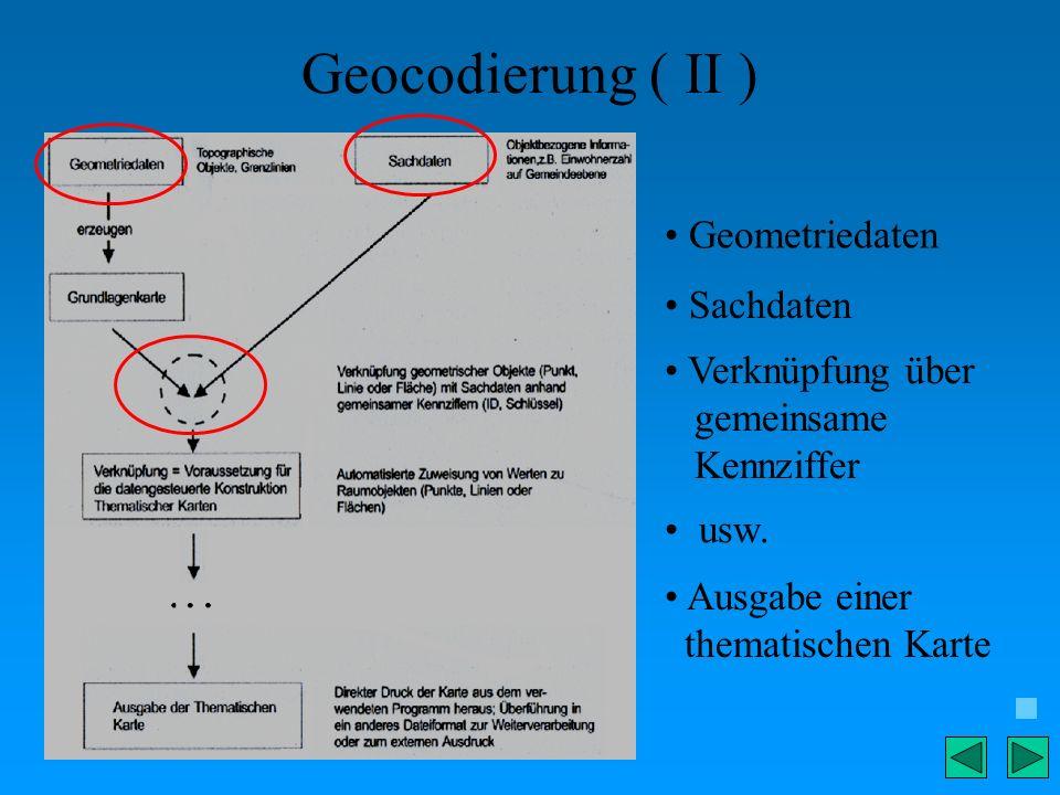 Geocodierung ( II ) Geometriedaten Sachdaten Verknüpfung über