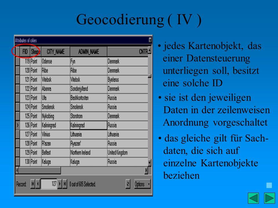 Geocodierung ( IV ) jedes Kartenobjekt, das einer Datensteuerung