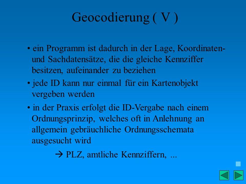 Geocodierung ( V ) ein Programm ist dadurch in der Lage, Koordinaten-