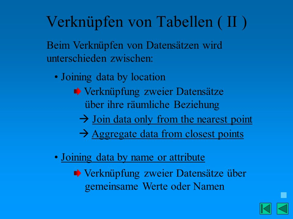 Verknüpfen von Tabellen ( II )