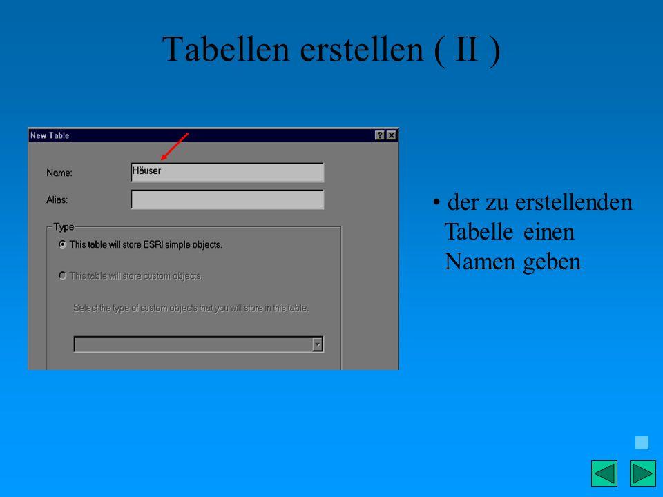 Tabellen erstellen ( II )
