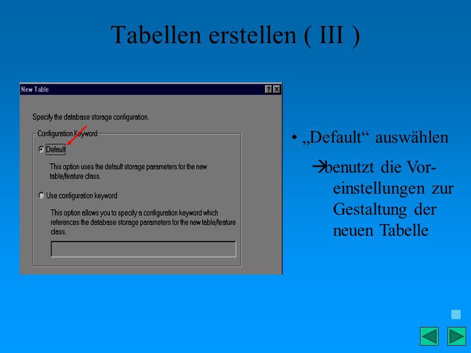 Tabellen erstellen ( III )