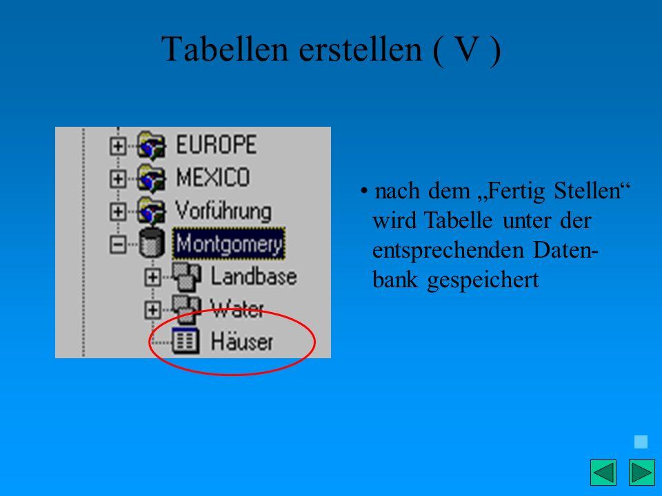 Tabellen erstellen ( V )