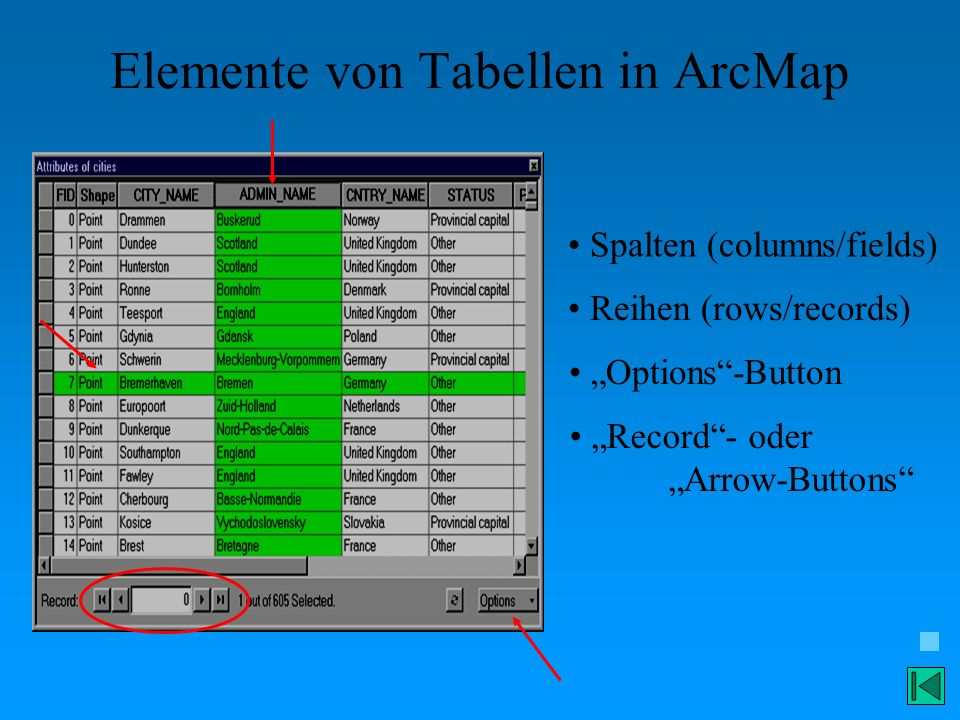 Elemente von Tabellen in ArcMap