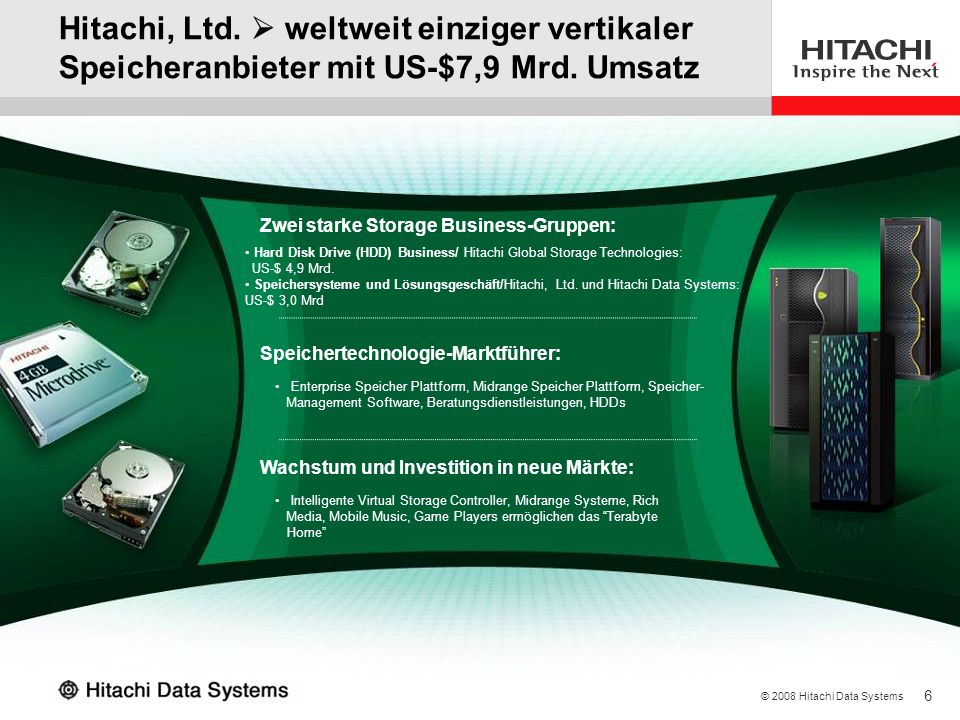 3/28/2017 Hitachi, Ltd.  weltweit einziger vertikaler Speicheranbieter mit US-$7,9 Mrd. Umsatz. Zwei starke Storage Business-Gruppen: