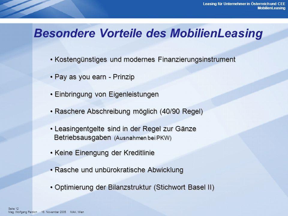Besondere Vorteile des MobilienLeasing