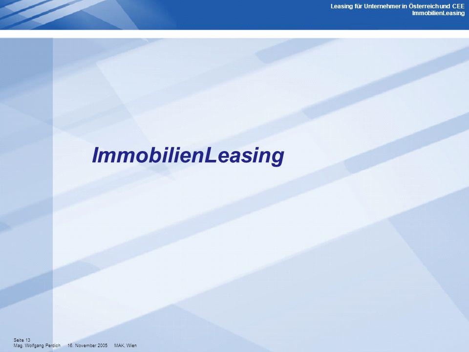 Leasing für Unternehmer in Österreich und CEE ImmobilienLeasing
