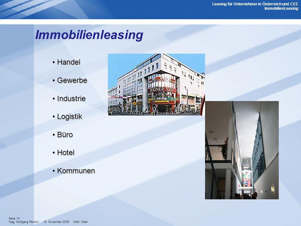 Immobilienleasing Handel Gewerbe Industrie Logistik Büro Hotel