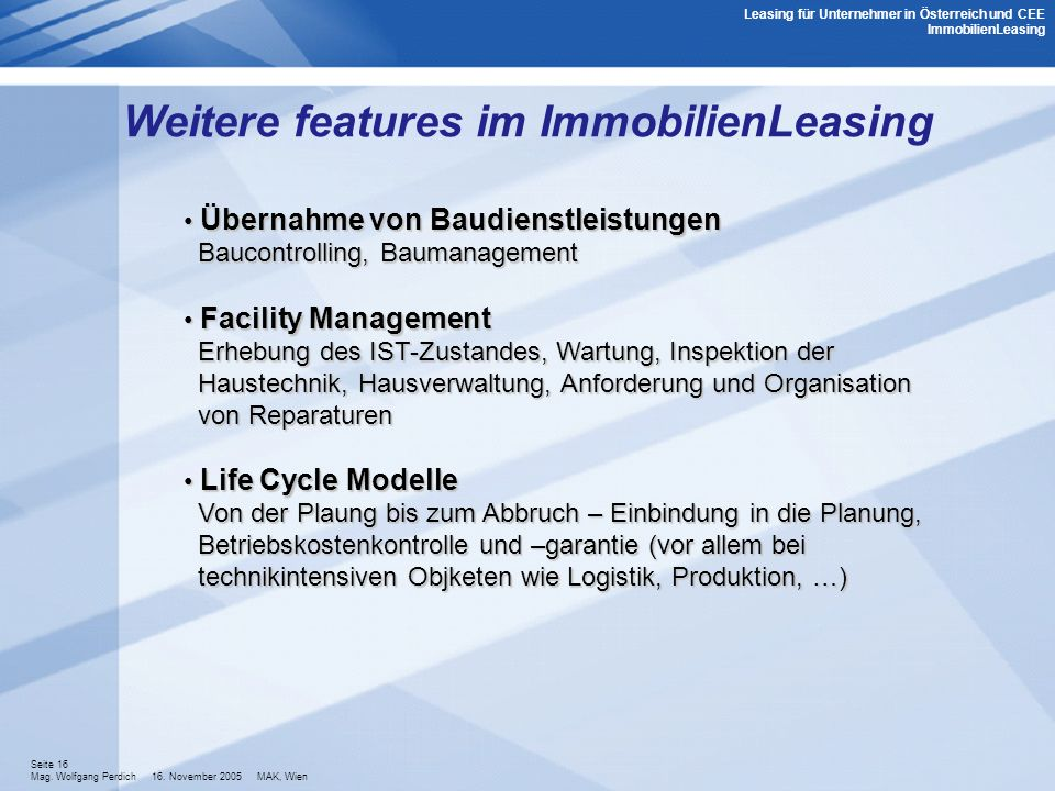 Weitere features im ImmobilienLeasing
