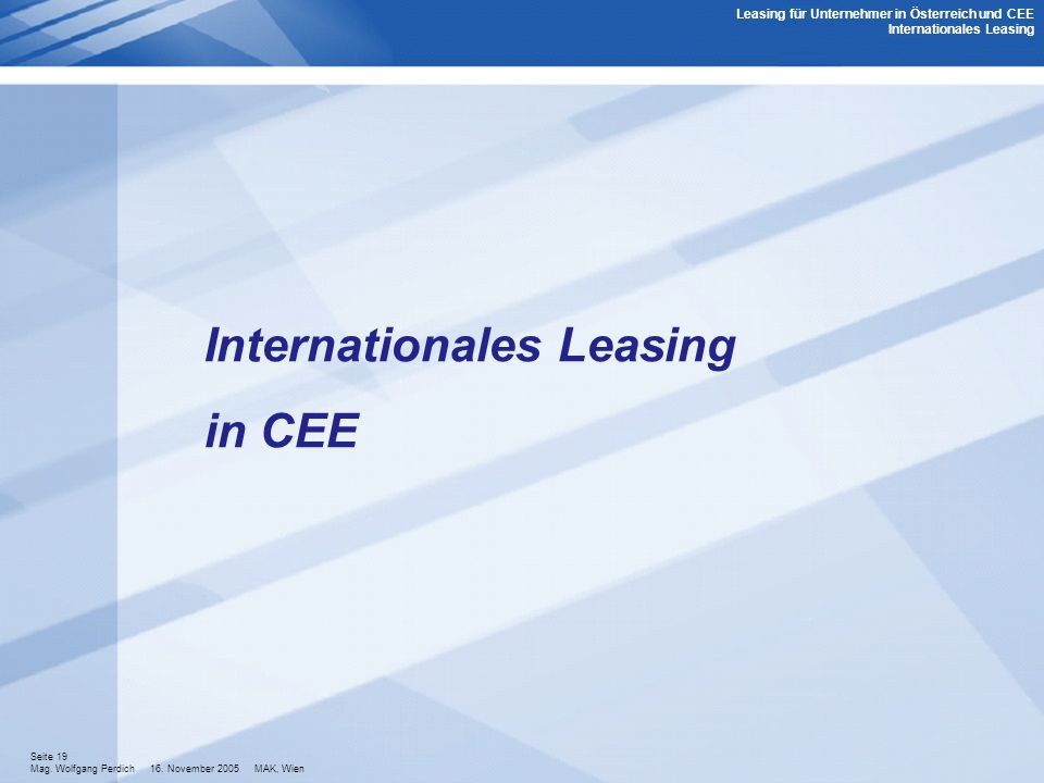 Internationales Leasing in CEE