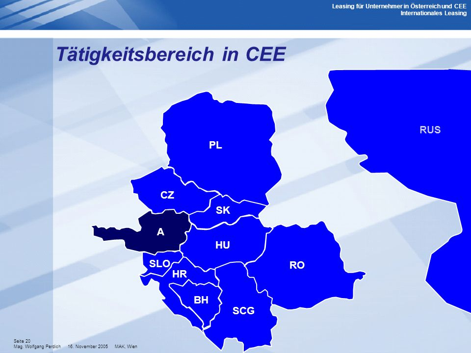 Tätigkeitsbereich in CEE