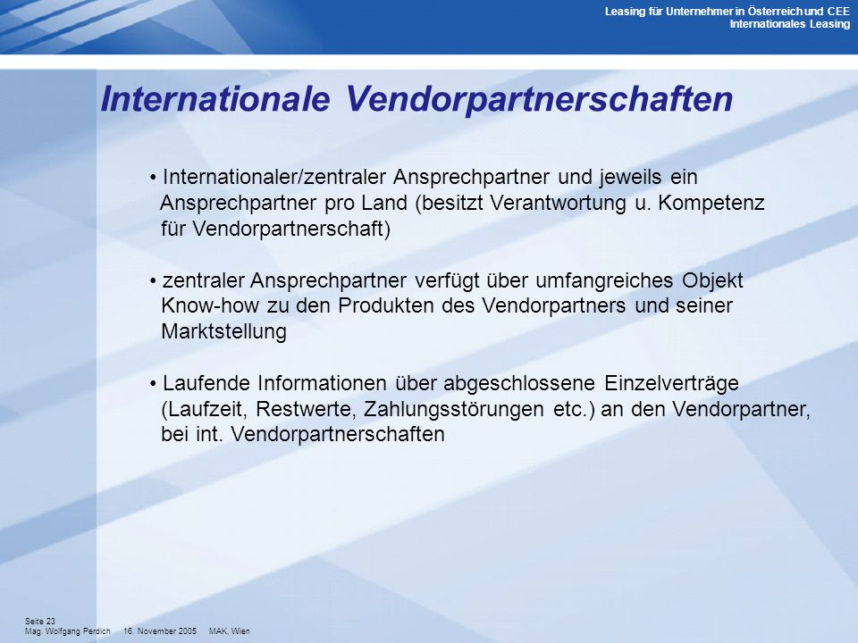 Internationale Vendorpartnerschaften