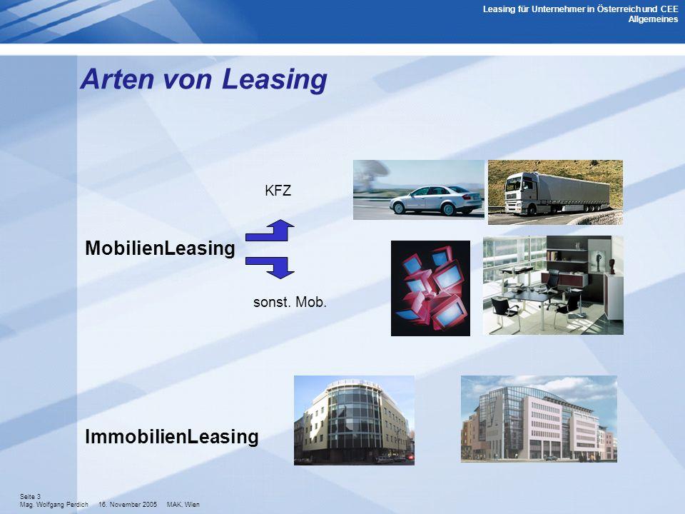 Arten von Leasing MobilienLeasing ImmobilienLeasing KFZ sonst. Mob.
