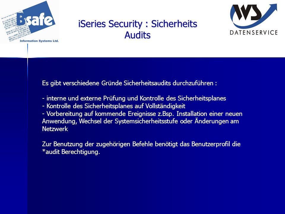 iSeries Security : Sicherheits Audits