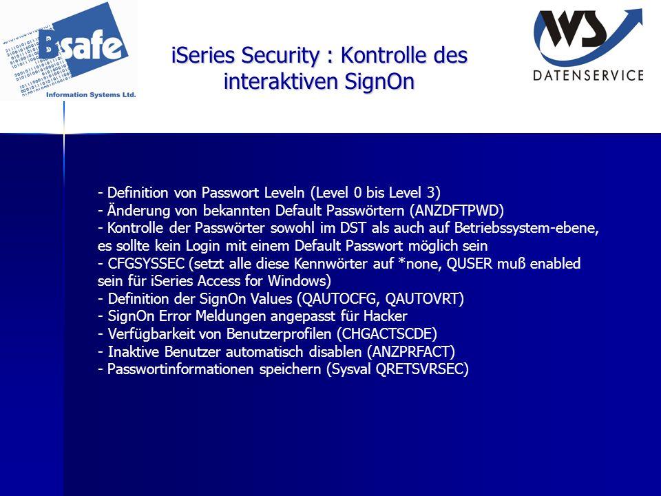 iSeries Security : Kontrolle des interaktiven SignOn