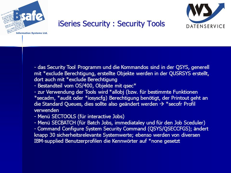 iSeries Security : Security Tools