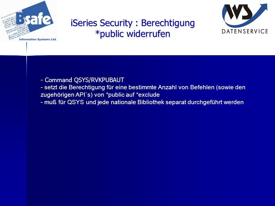 iSeries Security : Berechtigung *public widerrufen