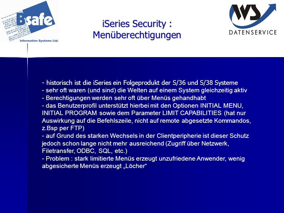 iSeries Security : Menüberechtigungen