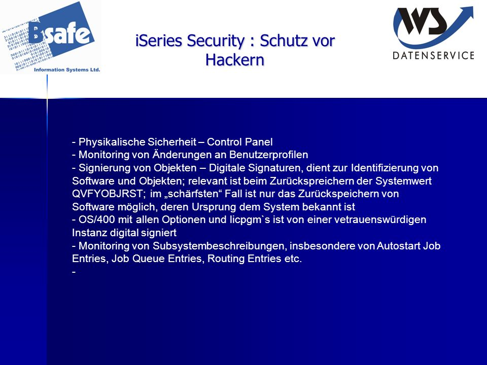 iSeries Security : Schutz vor Hackern