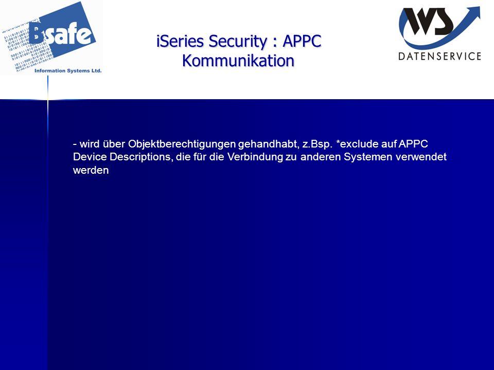 iSeries Security : APPC Kommunikation