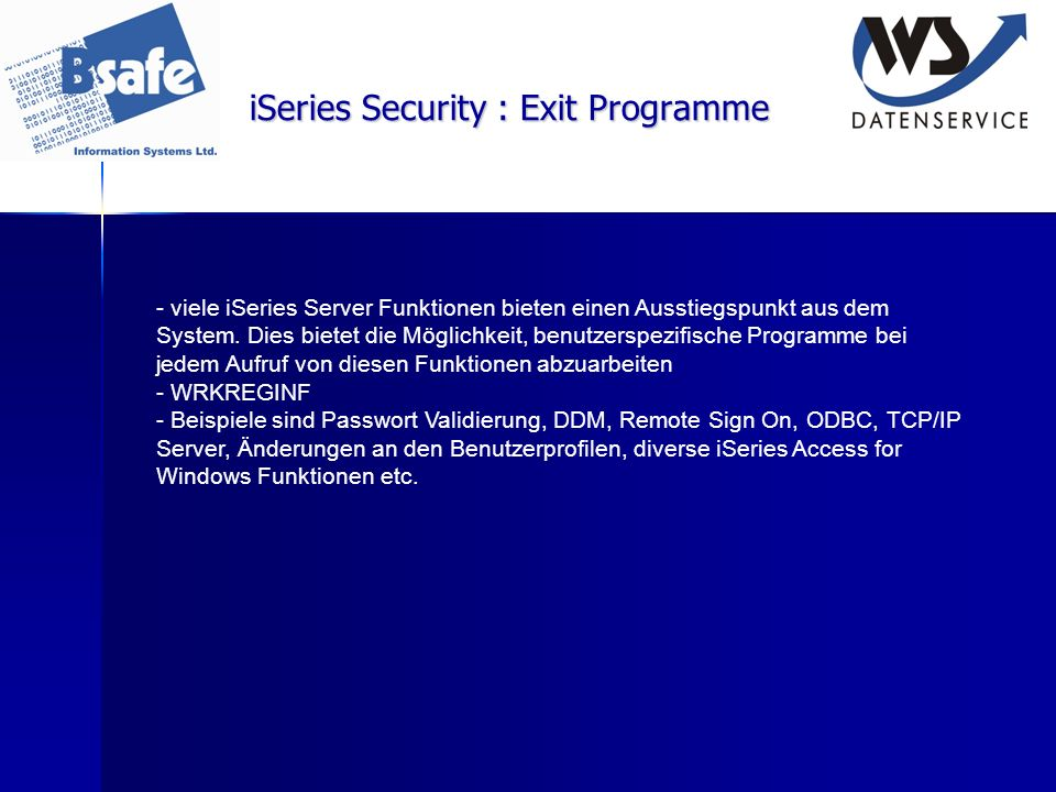 iSeries Security : Exit Programme