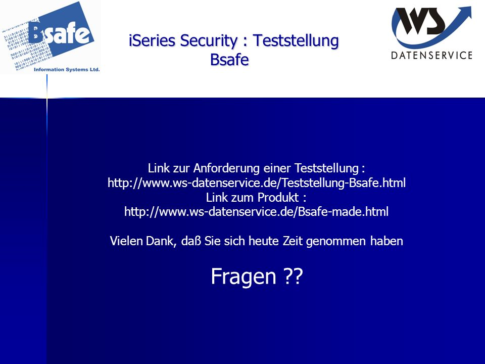 iSeries Security : Teststellung Bsafe