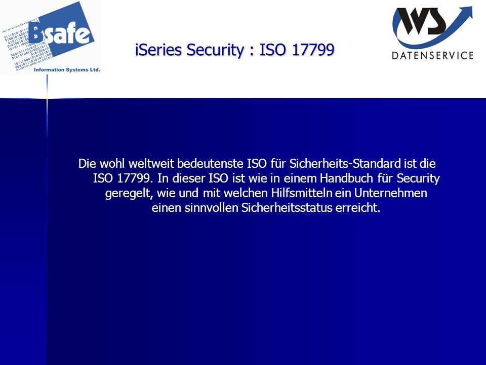 iSeries Security : ISO 17799