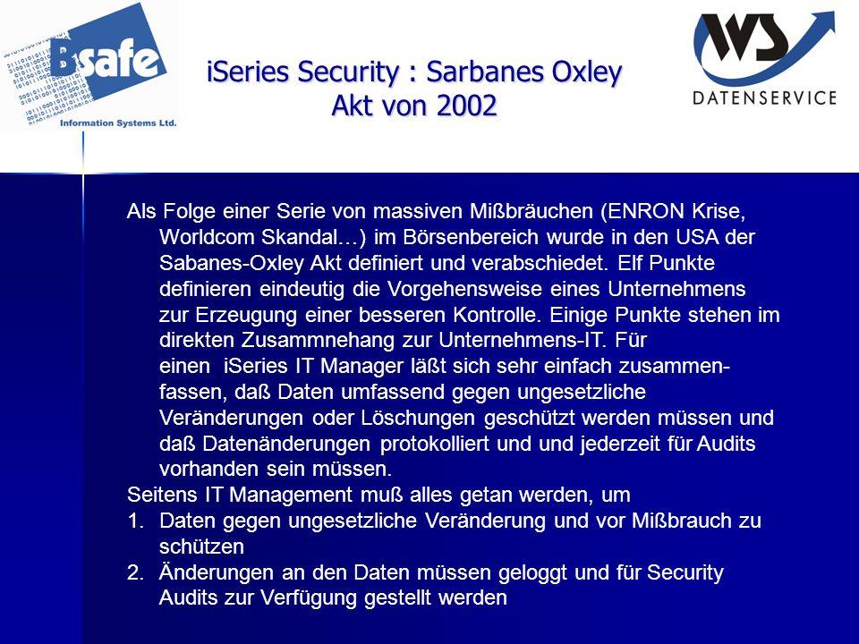 iSeries Security : Sarbanes Oxley Akt von 2002