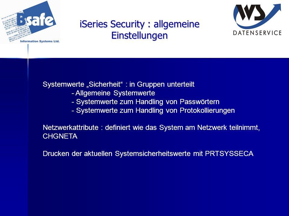 iSeries Security : allgemeine Einstellungen