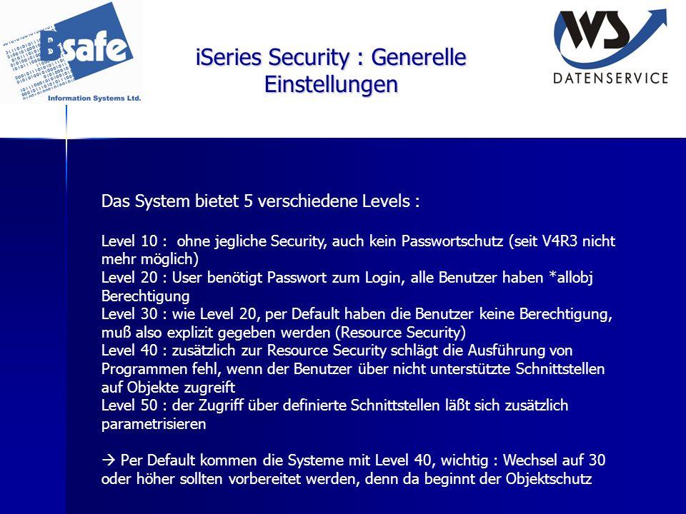 iSeries Security : Generelle Einstellungen