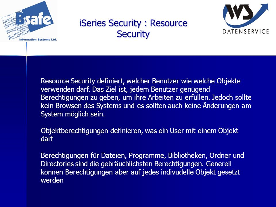 iSeries Security : Resource Security