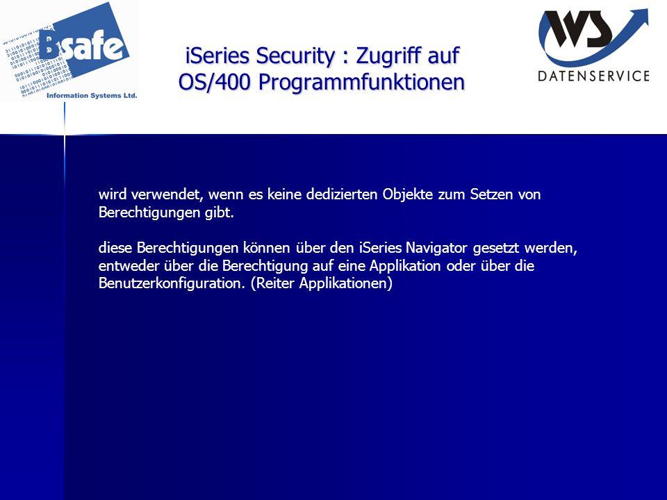 iSeries Security : Zugriff auf OS/400 Programmfunktionen