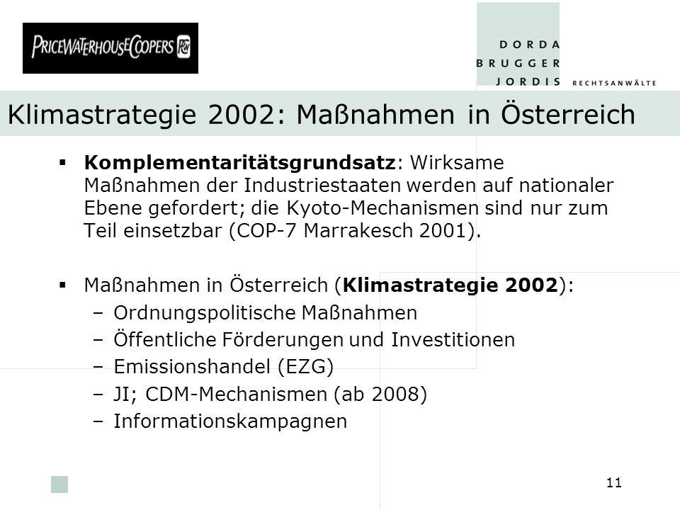 Klimastrategie 2002: Maßnahmen in Österreich