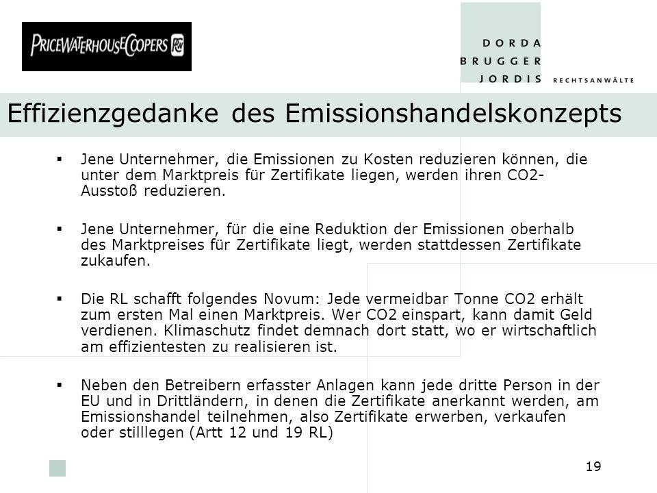 Effizienzgedanke des Emissionshandelskonzepts