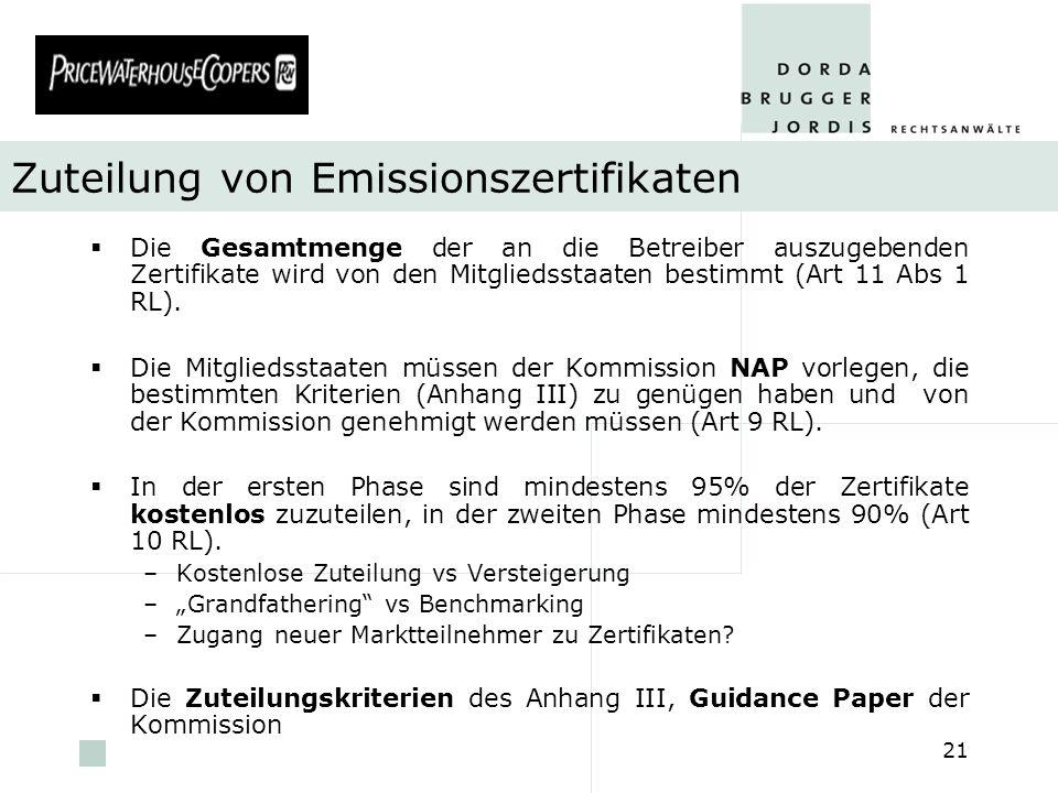 Zuteilung von Emissionszertifikaten