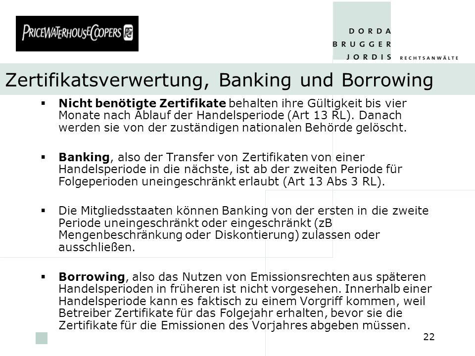 Zertifikatsverwertung, Banking und Borrowing