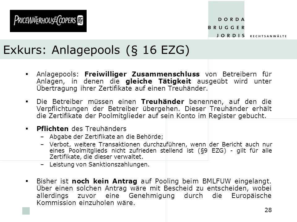 Exkurs: Anlagepools (§ 16 EZG)