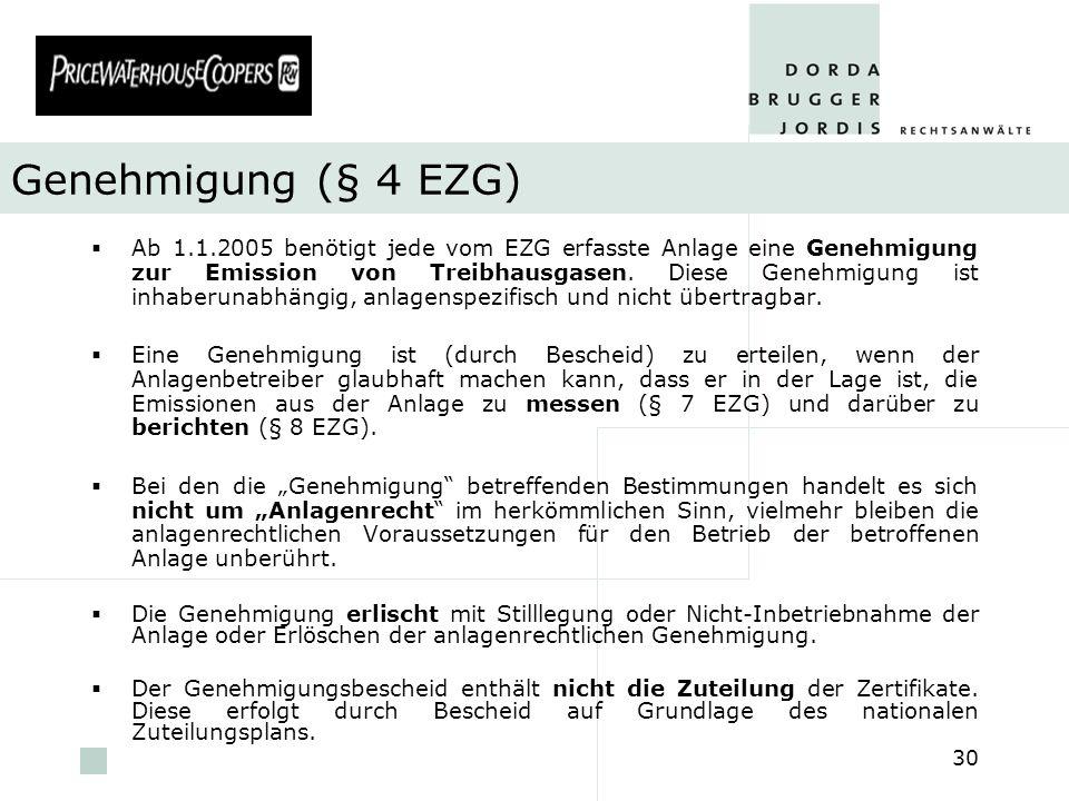 Genehmigung (§ 4 EZG)