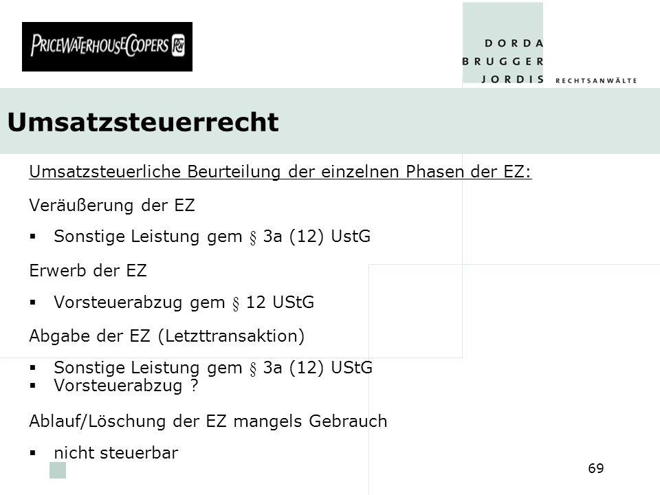 Umsatzsteuerrecht Umsatzsteuerliche Beurteilung der einzelnen Phasen der EZ: Veräußerung der EZ. Sonstige Leistung gem § 3a (12) UstG.