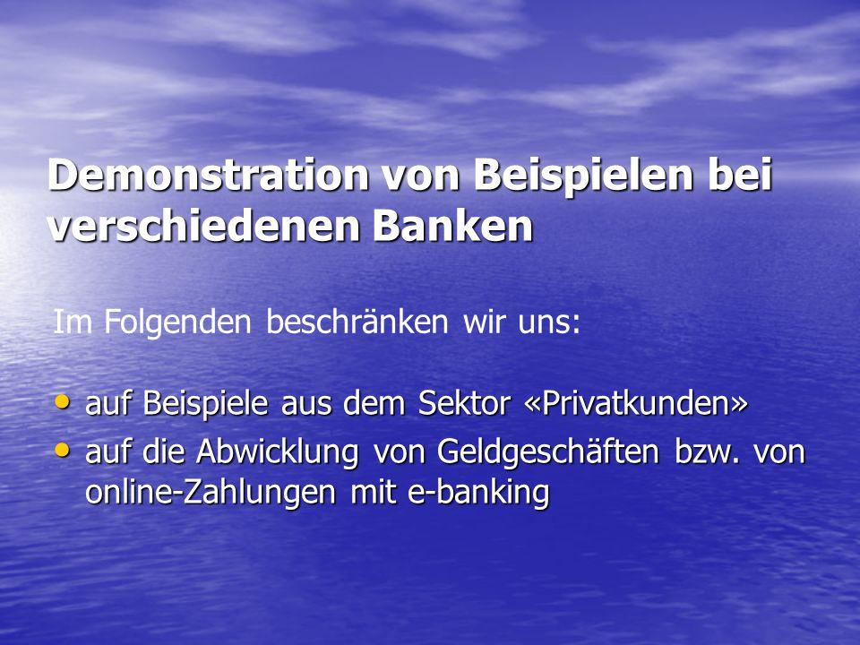 Demonstration von Beispielen bei verschiedenen Banken