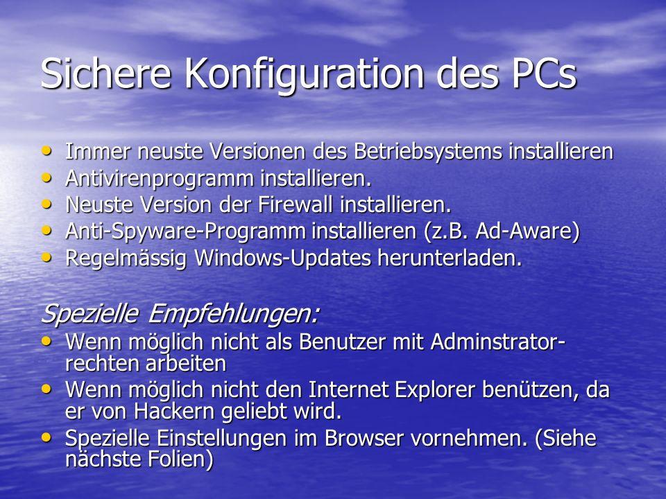 Sichere Konfiguration des PCs